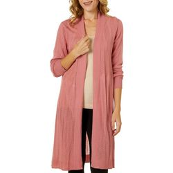 T. Tahari Womens Solid Subtle Chevron Open Front Cardigan