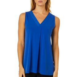 Premise Womens Solid Knit V-Neck Sleeveless Top