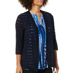 Premise Womens Solid Eyelet Open Cardigan