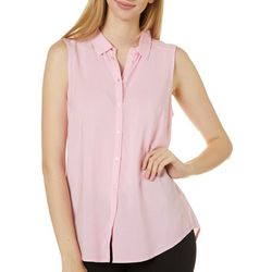 Premise Womens Striped Button Down Sleeveless Top