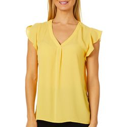 Premise Womens Solid V-Neck Flutter Sleeve Top