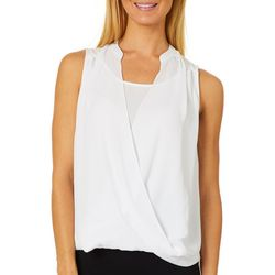 Philosophy Womens Solid Woven Surplice Top