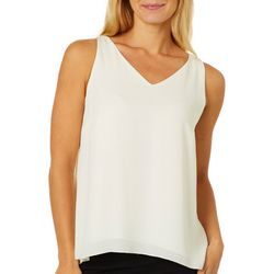 Premise Womens Solid V-Neck Sleeveless Top
