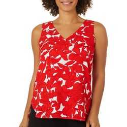 T. Tahari Womens Floral Print V-Neck Sleeveless Top