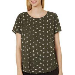 Premise Womens Whimsical Print Pleated Short Sleeve Top