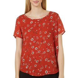 Premise Womens Floral Print Pleated Short Sleeve Top