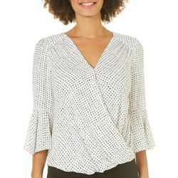 Premise Womens Speckled Faux-Wrap Top