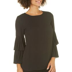 Carmen Marc Valvo Womens Solid Ruffled Bell Sleeve Top