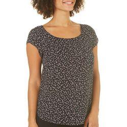 Premise Womens Leaf Print Cap Sleeve Top