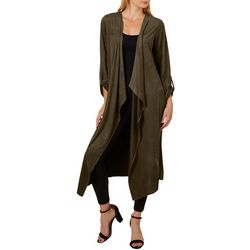 Philosophy Womens Solid Faux Suede Open Front Jacket