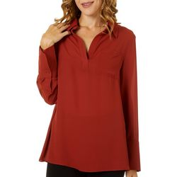 Premise Womens Solid Woven Long Sleeve Top
