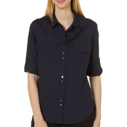 Premise Womens Solid Roll Sleeve Button up Top
