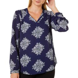 Premise Womens Printed Woven Long Sleeve Top