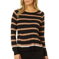 Philosophy Womens Striped Round Neck Long Sleeve Top