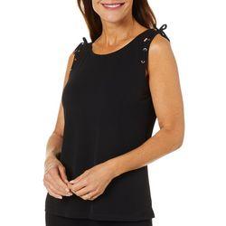 Carmen Marc Valvo Womens Solid Sleeveless Tie Detail Top