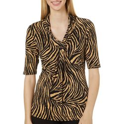 Premise Womens Animal Print Twist Front V-Neck Top