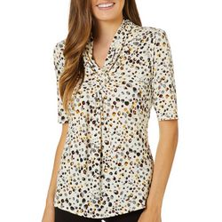 Premise Womens Dotted Twist Front V-Neck Top