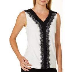 Premise Womens Solid Colorblock Lace Trim Sleeveless Top