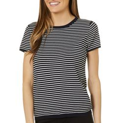 Philosophy Womens Striped Back Zipper Detail Top