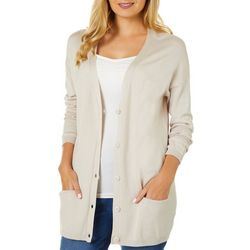 Philosophy Womens Solid Button Down Long Sleeve Cardigan