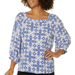 Premise Womens Medallion Tile Print Square Neck Top