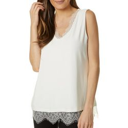 T. Tahari Womens Solid Lace Trim V-Neck Sleeveless Top