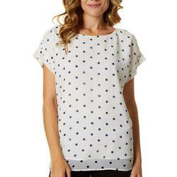 T. Tahari Womens Polka Dot Short Sleeve Top