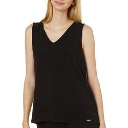 T. Tahari Womens Solid Knit V-Neck Sleeveless Top
