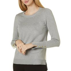 Philosophy Womens Solid Round Neck Button Sleeve Top