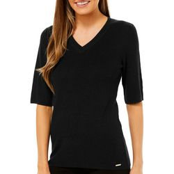 Premise Womens Solid V-Neck Short Sleeve Top