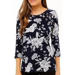 Ivy Road Womens Floral Puff Print Top