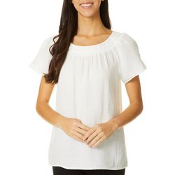 Beach Lunch Lounge Womens Solid Smocked Neckline Top