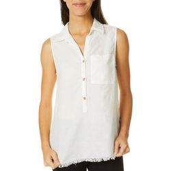 Beach Lunch Lounge Womens Linen Solid Sleeveless Top