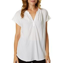 Beach Lunch Lounge Womens Solid Short Sleeve Top