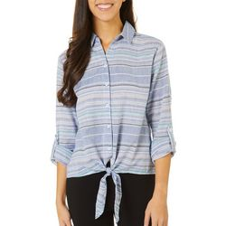 Beach Lunch Lounge Womens Striped Tie Front Button Down Top