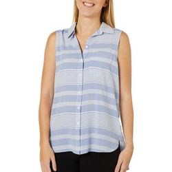 Beach Lunch Lounge Womens Striped Woven Sleeveless Top