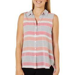 Beach Lunch Lounge Womens Striped Button Down Sleeveless Top