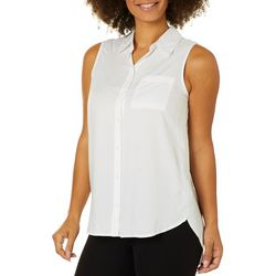 Beach Lunch Lounge Womens Solid Button Down Sleeveless Top