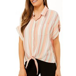 Beach Lunch Lounge Womens Striped Tie Front Top