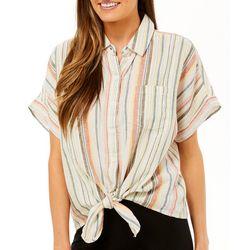 Beach Lunch Lounge Womens Striped Button Down Top