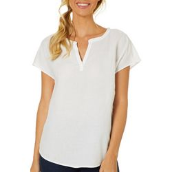Beach Lunch Lounge Womens Solid Cap Sleeve Top