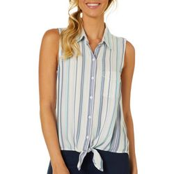 Beach Lunch Lounge Womens Striped Tie Front Sleeveless Top