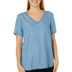 Beach Lunch Lounge Womens Solid V-Neck High Low Top
