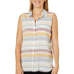 Beach Lunch Lounge Womens Striped Pocket Sleeveless Top