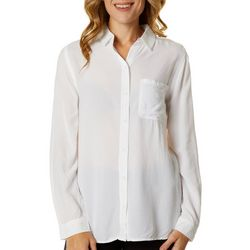 Beach Lunch Lounge Womens Solid Long Sleeve Button