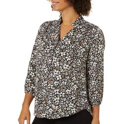 Counterparts Womens Floral Print Ruffle Neckline Top