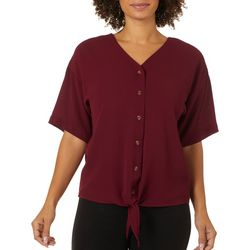 Counterparts Womens Solid Button Down Tie Front Top