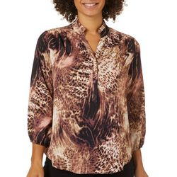Counterparts Womens Animal Print Ruffle Neckline Top