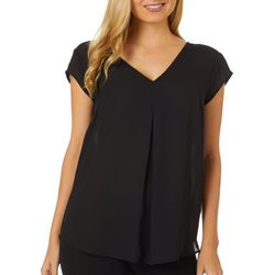 DR2 Womens Solid Key Hole Back Short Sleeve Top