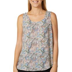 DR2 Womens Paisley Print High-Low Sleeveless Top
